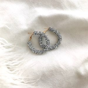 Silver Glitter Hoops